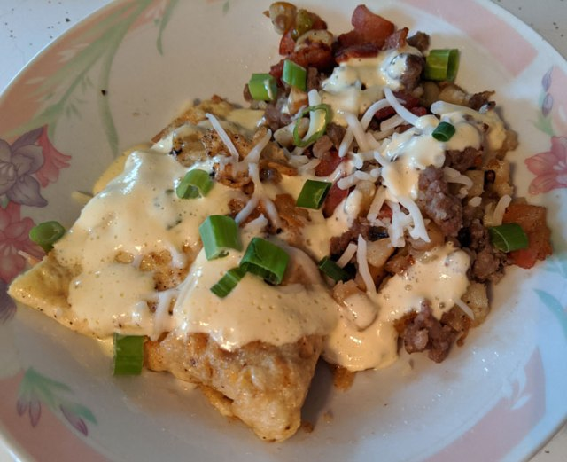Ham & Cheese Omelet with Sausage Bacon Hash and Hollandaise